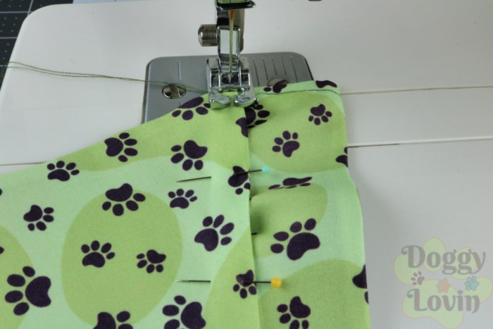 Pieces being stitched together on a sewing machine