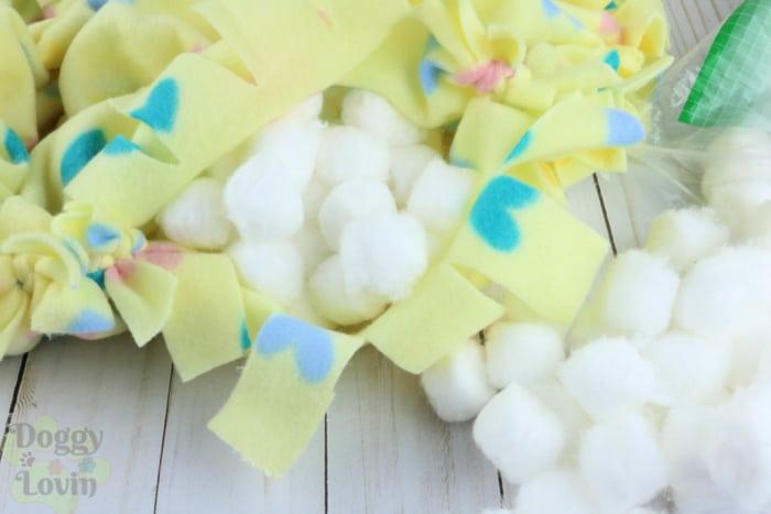 Stuff cotton into blankets