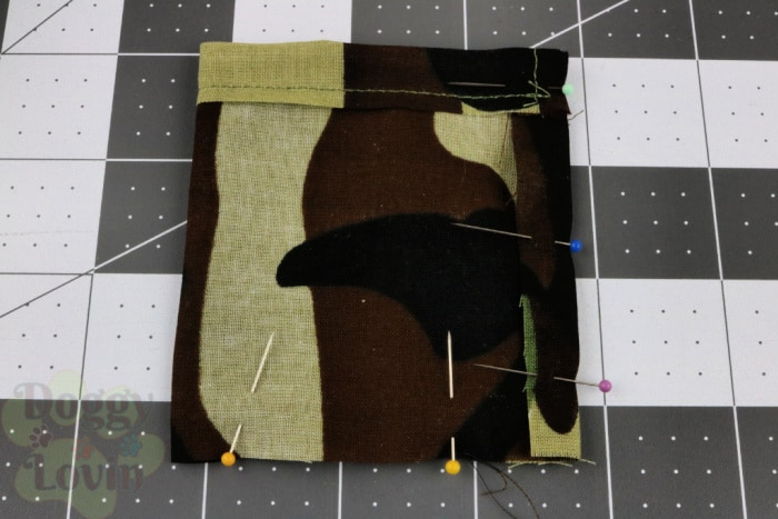 Fold over and pin bottom and one side