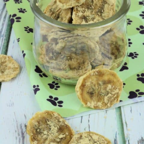 Glass jar full of banana chips for dogs with a few around it on the counter