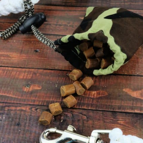Camo dog training treats pouch full of treats attached to white leash on dark wood background