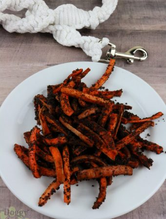 White plate with air fryer liver carrot fries with white dog leash in background