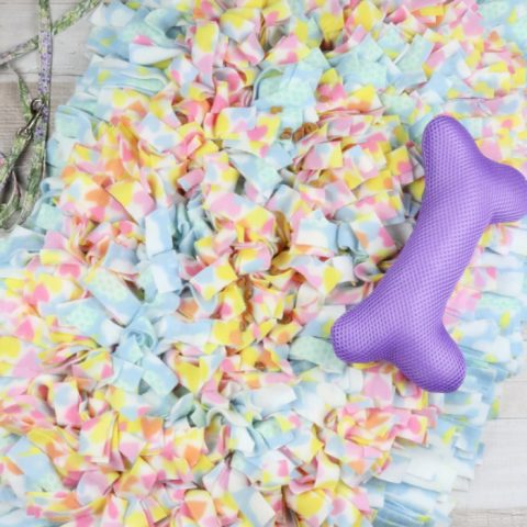 Finished snuffle mat made from dollar tree