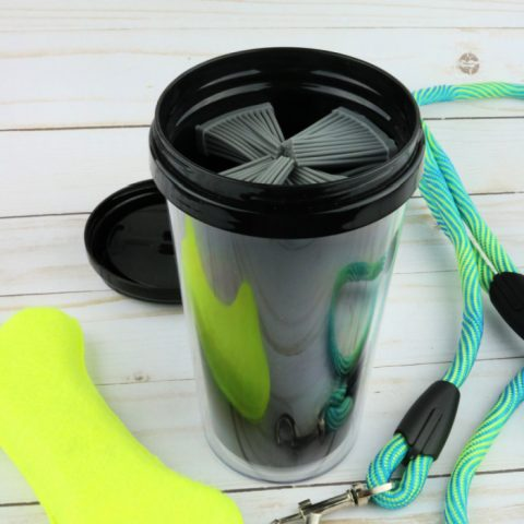 DIY Dollar Tree Paw Washer For Dogs with leash and dog toy to the side